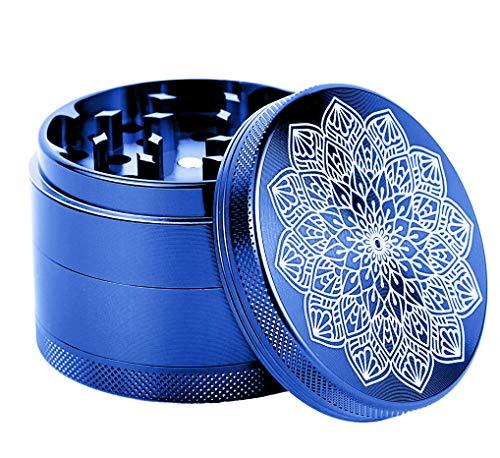 Small Spice Herb Grinder with Pollen Catcher Aluminum Best 4 Piece Blue