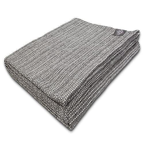 Craft Story Decke Yara I Uni schwarz-Weiss aus 100% Baumwolle I Tagesdecke I Sofa-Decke I Überwurf I Picknickdecke I Nutz- & Schutzdecke I ca.170 x 220cm