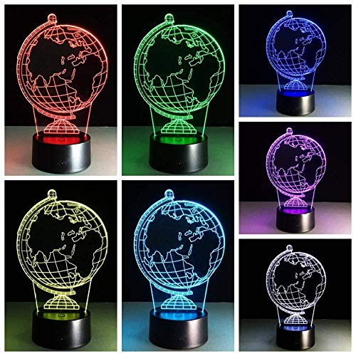 3D Night Light - Globe World Map - LED Illusion Light with Remote Control 7 Colors Change Decor Lamp Optical Night Lights with USB Power Cable for Kids Birthday Festival Best Gift
