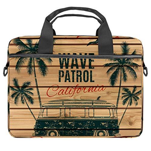 Grunge Vintage Retro Surf Van On Wooden Planks Laptop Case Canvas Pattern Briefcase Sleeve Laptop Shoulder Messenger Bag Case Sleeve for 13.4-14.5 inch Apple MacBook Laptop Briefcase