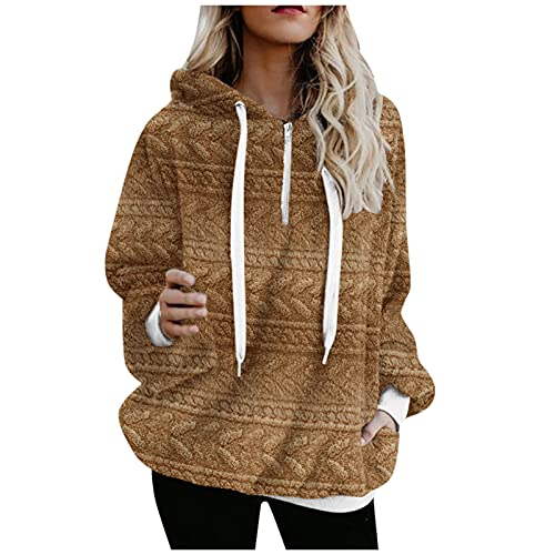 URIBAKY - Sudadera con capucha para mujer, manga larga con capucha y cremallera, B-marrón, XXL