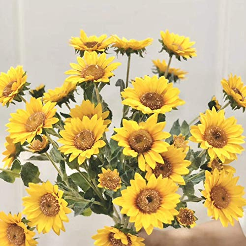 DAGUAI Flores artificiales, bonsái, girasol artificial, decoración para el hogar, jardín, boda, fiesta, amarillo (color: amarillo)