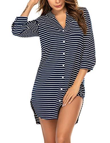 Balancora Damen Nachthemd Baumwolle Kopfleiste Sleepshirt Streifen Geburt Stillnachthemd 3/4 Ärmel Gestreiftes Nachthemd