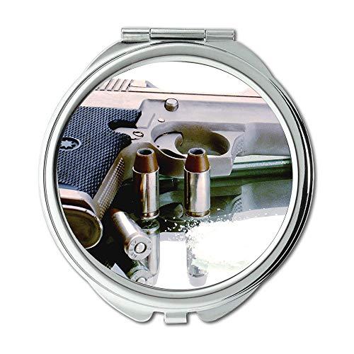 Yanteng Spiegel, Schminkspiegel, Pistole blau, Runder Spiegel, Pistole, Taschenspiegel, tragbarer Spiegel