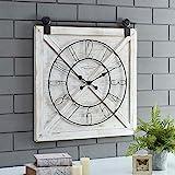 FirsTime & Co. Farmstead Barn Door Wall Clock, 29'H x 27'W, Whitewash, Metallic Gray, Black