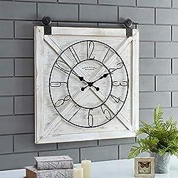 FirsTime & Co. Farmstead Barn Door Wall Clock, 29H x 27W, Whitewash, Metallic Gray, Black