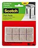 Scotch Brand Felt Pads, Value Pack, Great for protecting hardwood and linoleum floors, Protectors, Square, Beige, 1 in. x 1 in, 16 Pads/Pack