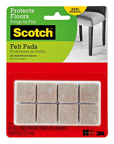 Scotch Brand Felt Pads, Premium Quality, By 3M, Great for protecting linoleum floors, Square, Beige, 1 in. x 1 in, 16 Pads/Pack