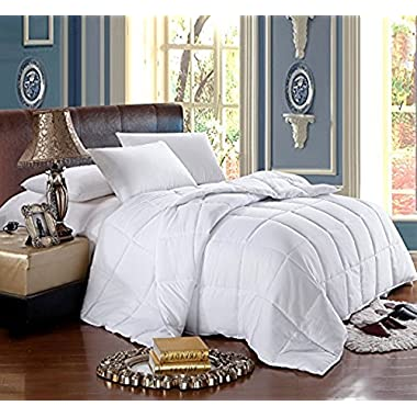 Soft, Light, Warm DOWN COMFORTER, 650 Fill Power, 100% Cotton Cover/Shell, 300 Threadcount, Solid White, Full/Queen