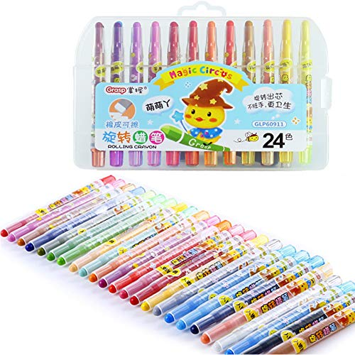 24 Colors Crayons Set, Twistable Crayon for Kids Adults Coloring, Mini Rotating Crayon for Toddlers Ages 3+, Never Need Sharpening, with Organizer Case