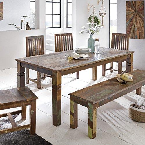 Mesa de comedor Delhi 180x 90x 76cm mango Shabby Chic maciza de madera, diseño rústico comedor Barco Madera, mesa para comedor rectangular | 6–8personas