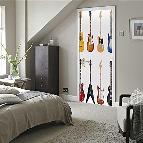 Pegatinas 3D para puertas interiores autoadhesivas, murales de pared para puerta, combinación de guitarra, impresión DIY extraíble impermeable vinilo PVC 77 x 220 cm