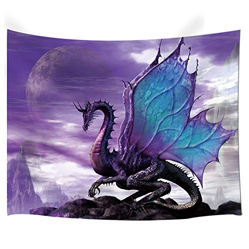 NYMB Medieval Fantasy Theme Wall Art Home Decor, Purple Dragon Tapestry Wall Hanging for Bedroom Living Room Dorm, (60X40in)