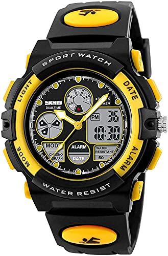 QHG Kids Digital Sport Watch Waterproof Sports Relojes al Aire Libre para niños Chicas Chicas Casual Electronic Drist Wrist Relojes de Pulsera con cronometrador de Alarma (Color : Blackyellow)