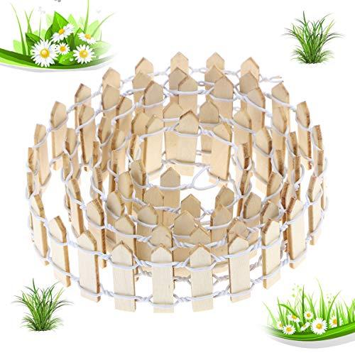 WINOMO 100 cm X 3 cm Weißer Mini-Holzzaun für Miniatur-Feengartenverzierung Kleiner Holzlattenzaun Handwerk Mikro Landschaftsbau Dekor DIY Zubehör