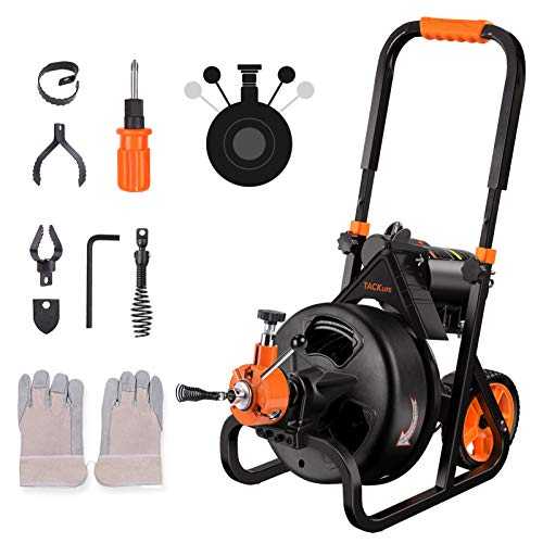Drain Cleaner Machine, 75 Ft x 1/2 Inch Plumbing Snake Drain Auger, Fit 2