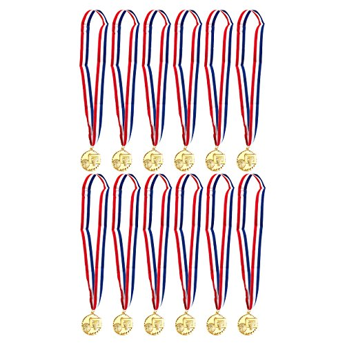 Juvale Gold Basketball Medals - 12-Pack - Winner Medals for Sport Game, Kids, Awards, 2 Inches in Diameter with 31-Inch Ribbon