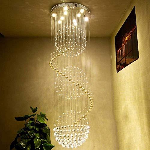 Lámpara de piso Escalera de caracol cristalina de las lámparas largas, habitaciones Villa Hall Hotel Vestíbulo de estar escalera Duplex Luz de montaje empotrado colgante accesorio de iluminación de re