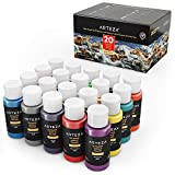 ARTEZA Outdoor Acrylic Paint, Set of 20 Colors/Tubes (59 ml, 2 oz.) with Storage Box, Rich Pigments, Multi-Surface Paints for Rock, Wood, Fabric, Leather, Paper, Crafts, Canvas and Wall Painting