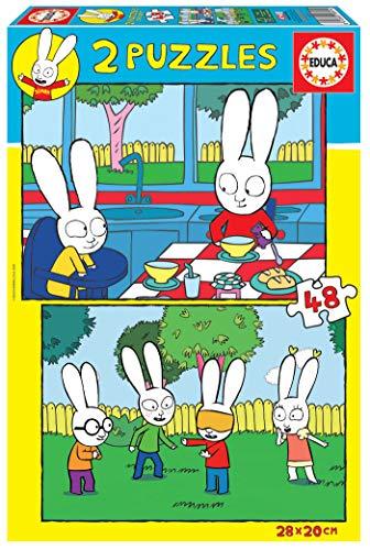 Educa 18891 Simón el Conejo. 2 Puzzles Infantiles de 48 Piezas. +3 años. Ref, Multicolor