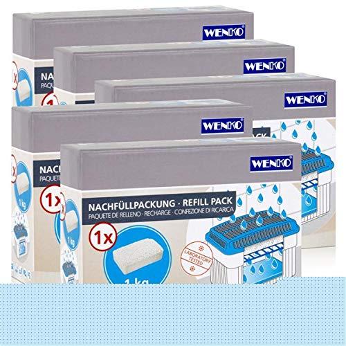 5x Wenko Nachfüllpackung Feuchtigkeitskiller Raum-Entfeuchter, 1kg Granulat