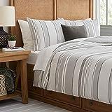 Amazon Brand – Stone & Beam Traditional Stripe Duvet and Sham Set - King, Grey