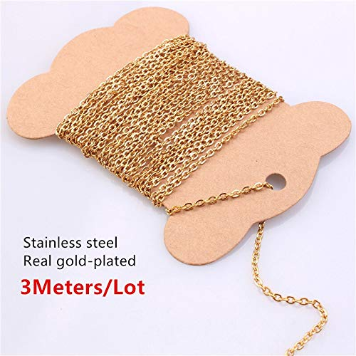 Lifuqiangme 5 m roestvrij stalen ketting, verlengketting, voor halsketting, knutselen, make-up Width 2.5mm Real Gold Plated 3m