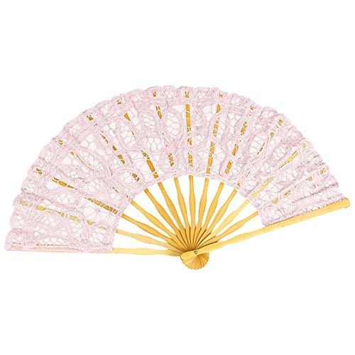 VON LILIENFELD Fächer Carmen handgeklöppelte Spitze Bambusstäbe Handfächer Hochzeitsfächer Deko pastellrosa