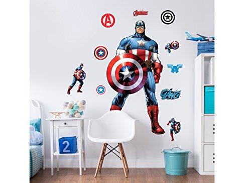 Walltastic Marvel Captain America, großer Figuraufkleber, Vinyl, bunt, 7 x 7 x 52.5 cm