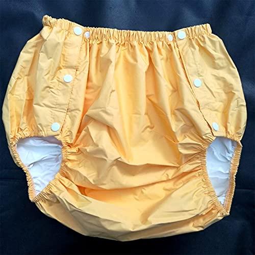 Herren- Und Damenwindeln, Windeln Für Erwachsene, Wasserdichte PVC-Hose/Inkontinenzhose/Taschenwindeln, Windeln, Inkontinenzbeutel, Wiederverwendbar,Orange,XXL