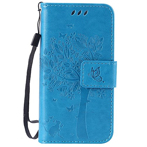 Lomogo iPhone 5S / SE / 5 Hülle Leder, Schutzhülle Brieftasche mit Kartenfach Klappbar Magnetverschluss Stoßfest Kratzfest Handyhülle Case für Apple iPhone5S / iPhone5 - EKATU23053 Blau