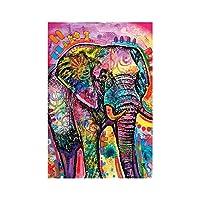 キャンバス絵画アフリカ色野生動物象のポスターとプリントアート画像モダンなリビングルームの寝室の家の装飾-60x90cmフレームなし