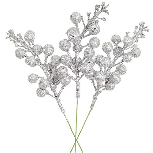 Lvydec 16pcs Christmas Glitter Berries Stems, 7.8