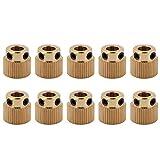 10pcs Zahnräder,Richer-R 3D Drucker Hochwertigen Messing Antriebszahnrad,Tragbar Leicht Extruder Zahnrad 5mm für 3D Drucker MK7 MK8 Extruder 26/40 Zähne Gold(40 Zähne)