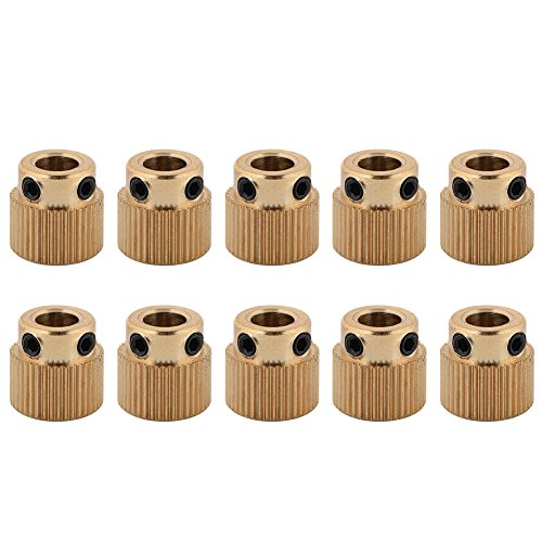 10pcs ruote dentate,Stampante 3d alta qualità In Ottone Ingranaggio di azionamento, Giunto Bar leggero estrusore Ingranaggio 5 mm per stampante 3d MK7 MK8 estrusore (40 denti)