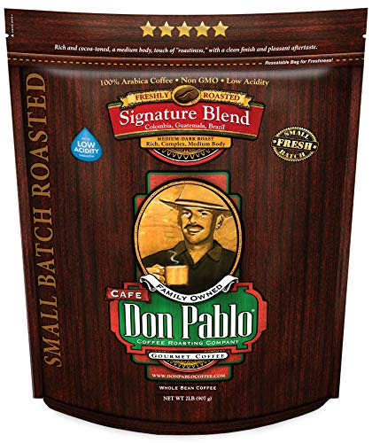 2LB Don Pablo Signature Blend - Medium-Dark Roast - Whole Bean Coffee - Low Acidity - 2 Pound (2 lb) Bag