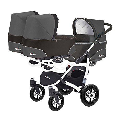 Kinderwagen für Drillinge 3 Gondeln 3 Sportsitze Trippy Kinderwagen 2in1 weißer Rahmen (schwarz graphit 04)