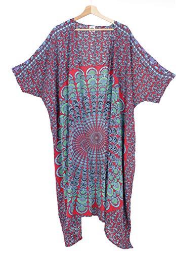 GURU-SHOP - Kimono Ligero de Verano, Capa, Vestido de Playa con diseño de Mandala, para Mujer, sintético, Talla: 44, Blusas y túnica, Ropa Alternativa Rojo y Azul 46
