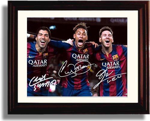 Framed Lionel Messi, Neymar Jr, Luis Suarez: The Barcelona Trio - Framed Autograph Replica Print