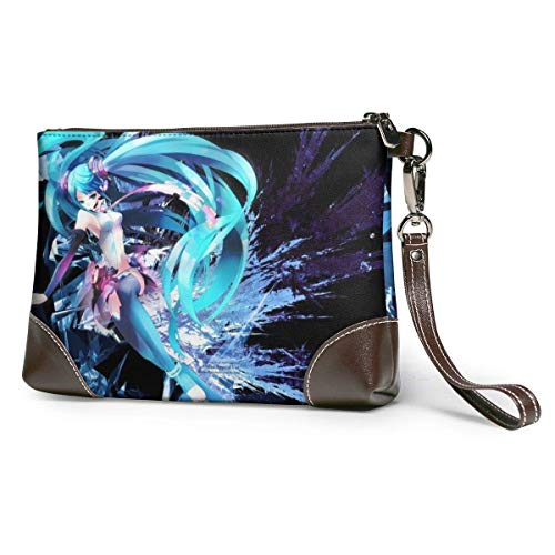 XCNGG Anime Girl Blue Hair Womens Echtes Leder Wristlet Reißverschluss Brieftasche Telefon Passhalter Hand Geldbörse, große Kapazität Männer Rindsleder Kupplungen Geldbörsen