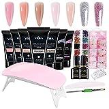 Abarich Kit Uñas Semipermanentes,Kit Uñas de Gel Completo,Lámpara de Uñas UV,Moldes de Uñas,Gel 7 Colores de Manicura,Accesorios Uñas