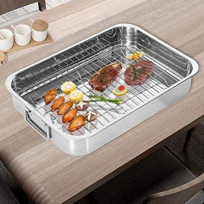 Roasting Pan,15 Inch Stainless steel Turkey Roa...