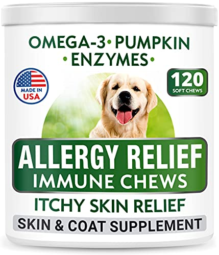 Bark&Spark Allergy Relief Dog Treats - Omega 3 + Pumpkin + Enzymes - Itchy Skin Relief - Seasonal Allergies - Anti-Itch & Hot Spots - Immune Supplement - Made in USA - Chicken Flavor Soft Chews