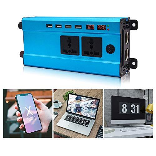 QJJML Auto Wechselrichter 1200W,USB Wechselrichter,Effizienter USB-Ladeanschluss,Intelligenter LüFter KüHlt Schnell Ab,LCD Intelligenter Bildschirm,Multifunktions-DC-Wechselrichter,60V