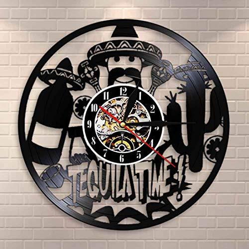 KEC Bar Alcohol Restaurante Vino Bebida Arte de la Pared Pub Decoración de la Pared Reloj de Pared Disco de Vinilo Vintage Reloj de Pared Tequila Club Signo Comercial
