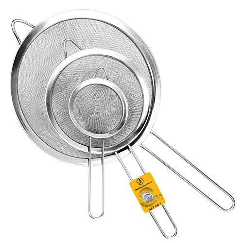 Jojeys Sieves and Strainers Set - Metal Sieve Stainless Steel, Fine Mesh Strainer - Kitchen Sieve Fine Mesh, Sive Cooking, Flour Sieve for Baking - Rust Free Seive, Dishwasher Safe SIV, Colander
