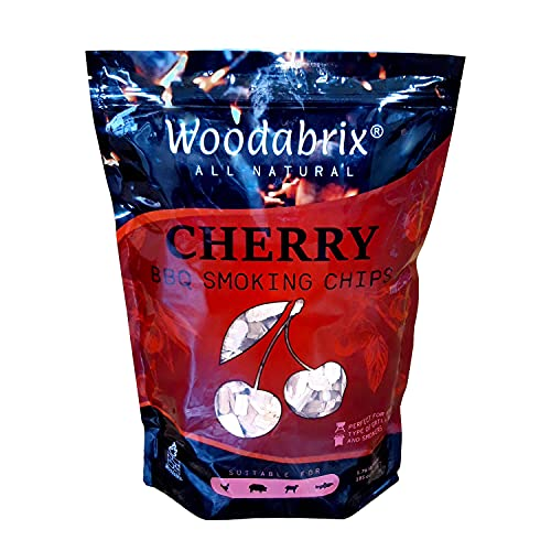 Woodabrix BBQ Smoking Wood Chips for Charcoal, Gas BBQ/Smoker, 100% Natural, 800 g/1.76 lb (3.2 Litre / 195 cu in), Cherry