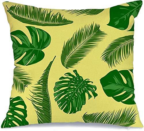 Funda de Cojine Throw CojínDibujado Palmera Trópicos Paraíso Hojas Naturaleza Diseño Moderno Patrón Filodendro Moderno Fundas para almohada 45X45CM