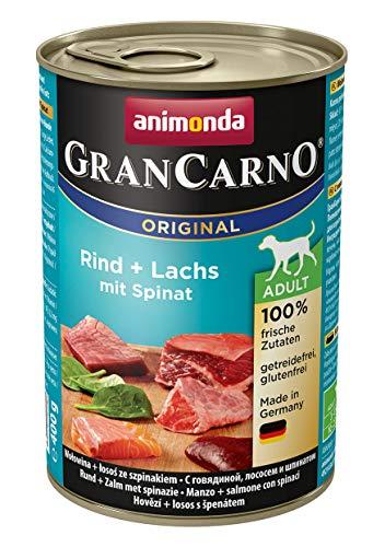 Animonda Gran Carno hondenvoer, voor volwassenen en honden, verschillende soorten en maten, Rund- en zalm met spinazie, 6 x 400 g
