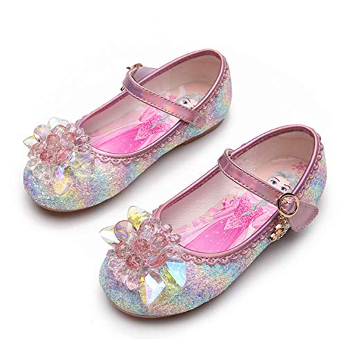 STRDK - Zapatos de fiesta para nias, princesa, para cosplay, Elsa, reina de la nieve, purpurina Mary Jane, color Rosa, talla 32 EU